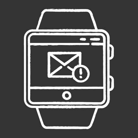 Messaging smartwatch function chalk icon. Sending and receiving mail. New message notification. Fitness wristband capability. Communication and connection. Isolated vector chalkboard illustration
