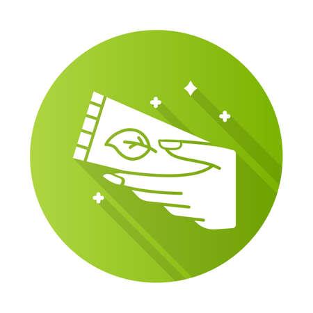 Hand cream tube green flat design long shadow glyph icon. Moisturizing, soothing lotion. Skincare product. Handcare. Paraben free. Dry skin solution. Organic cosmetics. Vector silhouette illustration Ilustração