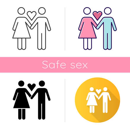 Only one partner icon. Girlfriend and boyfriend. Woman and man in love. Safe sex. Partner, lover. Monogamy for healthy sexlife. Flat design, linear and color styles. Isolated vector illustrations