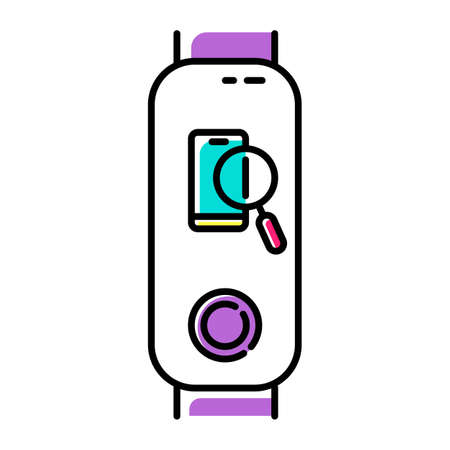 Fitness tracker with smartphone finder option color icon. Wellness gadget with lost cellphone location identification function. Phone with magnifier pictogram. Isolated vector illustration