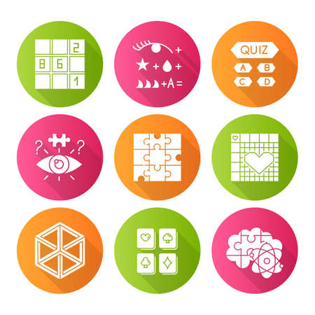Puzzles and riddles flat design long shadow glyph icons set. Sudoku. Trivia quiz. Nonogram. Optical illusion. Jigsaw. Logic games. Mental exercise. Brain teaser. Vector silhouette illustration