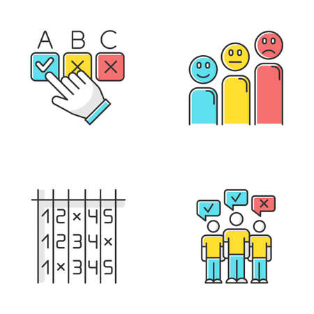 Survey color icons set. Choosing correct option. Customer satisfaction level. Positive and negative emoticons. Select number. Checklist. Mass poll. Public opinion. Vote. Isolated vector illustrations Vektorové ilustrace