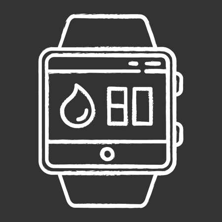 Water balance tracking smartwatch function chalk icon. Fitness wristband wellness service. Hydration remindings and measurements. Water resistant device. Isolated vector chalkboard illustration