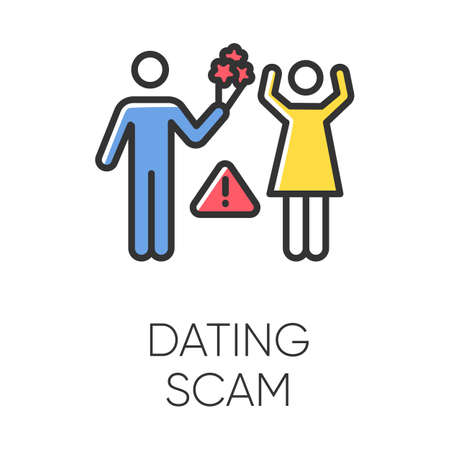 Dating scam color icon. Online romance fraud. Fake dating service. False romantic intentions, love promises. Money request. Confidence trick. Malicious, fraudulent scheme. Isolated vector illustration Illustration