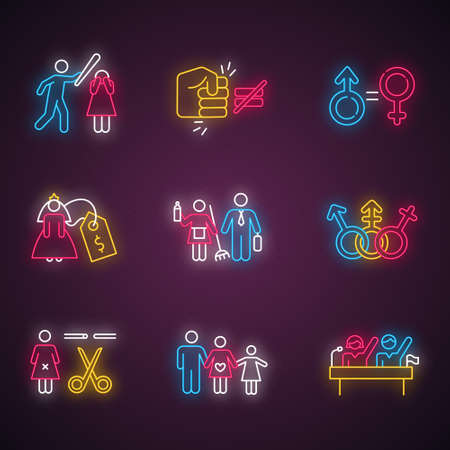 Gender equality neon light icons set. Violance against woman. Gender stereotypes. Bride price. Forced sterilization. Politic rights. Female abuse. Glowing signs. Vector isolated illustrations