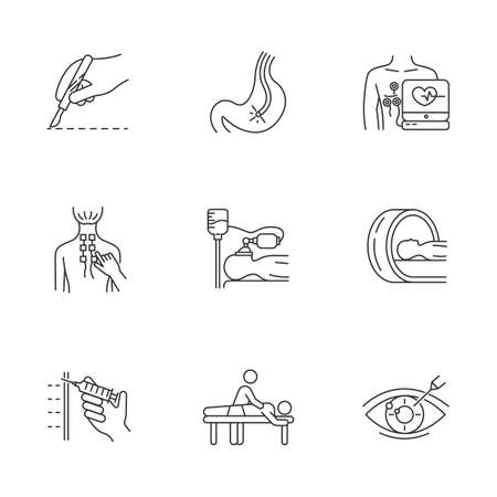 Medical procedure linear icons set. Endoscopy. Cardiogram. Physiotherapy. Anesthesia. Brain scan. Vision correction. Thin line contour symbols. Isolated vector outline illustrations. Editable stroke