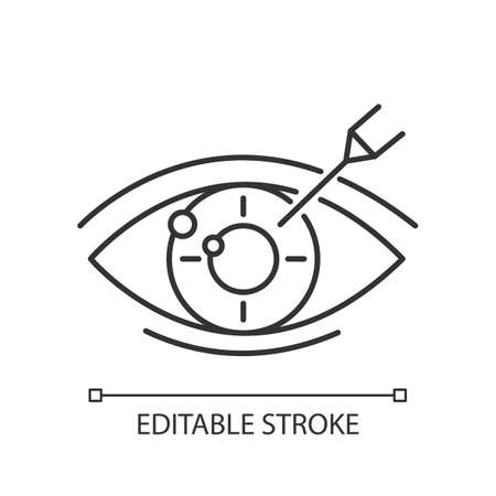 Vision correction linear icon. Medical procedure. Astigmatism. Ophthalmology. Laser operation. Eye disorder. Thin line illustration. Contour symbol. Vector isolated outline drawing. Editable stroke