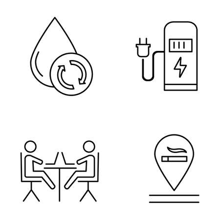 Apartment amenities linear icons set. Water filtration, car charging station, coworking space, smoking allowed. Thin line contour symbols. Isolated vector outline illustrations. Editable stroke Illustration