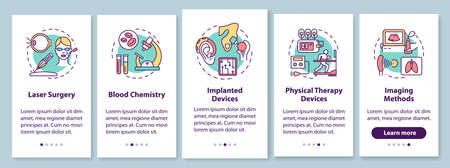 Biomedical engineering onboarding mobile app page screen with linear concepts. Laser surgery. Blood chemistry. Five walkthrough steps graphic instructions. UX, UI, GUI vector template, illustrations