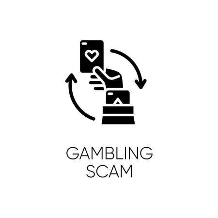 Gambling scam glyph icon. Money betting. Cheating in casino. Hand holding card. Online fraud. Cybercrime. Fraudulent scheme. Silhouette symbol. Negative space. Vector isolated illustration