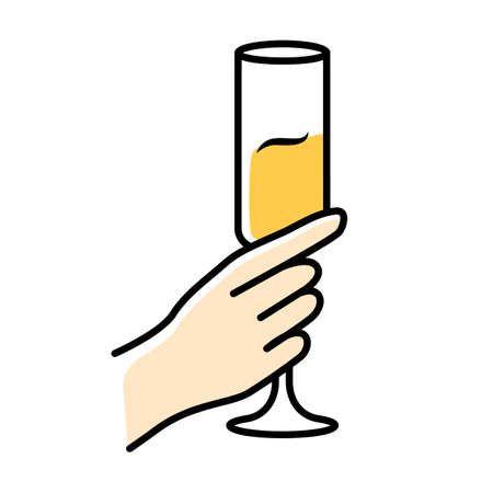 Hand holding glass of sparkling wine color icon. Champagne flute. Glassful of alcohol beverage. Wine service. Celebration. Wedding. Tasting, degustation. Toast. Cheers. Isolated vector illustration Illustration