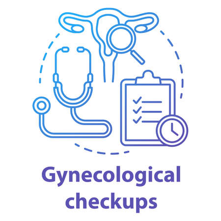 Gynecological checkups blue gradient concept icon. Medical examining idea thin line illustration. Female reproductive system. Women healthcare. Doctor equipment. Vector isolated outline drawing