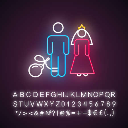 Forced marriage neon light icon. Woman and man, groom and bride. Family burden. Forcible wedlock. Compulsory marriage. Glowing sign with alphabet, numbers and symbols. Vector isolated illustration