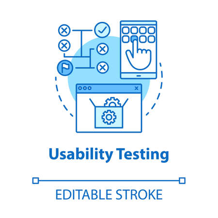 Usability-Tests türkisfarbenes Konzeptsymbol. Dünne Linie Illustration der Softwareentwicklungsidee. Benutzerinteraktion mit dem System. App-Programmierung. IT-Projekt. Vektor isolierte Umrisszeichnung. Bearbeitbarer Strich