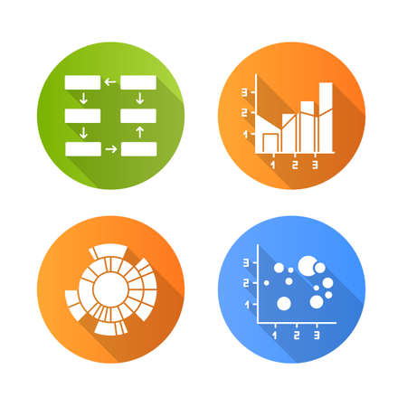 Chart and graph flat design long shadow glyph icons set. Data connection, wiring. Progress stages. Mixed chart. Sunburst radial diagram. Scatter bubble chart. Business. Vector silhouette illustration Vettoriali
