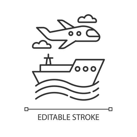 Transport industry linear icon. Plane and ship. Travel, trip, voyage. Vacation, tourism business. Cruise tour. Thin line illustration. Contour symbol. Vector isolated outline drawing. Editable stroke