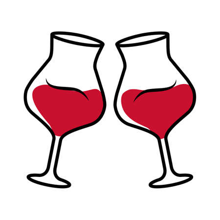 Two clinking glasses with red wine color icon. Glassfuls of alcohol beverage. Wine service. Celebration, party. Wedding. Tasting, degustation. Toast. Cheers. Isolated vector illustration Vettoriali
