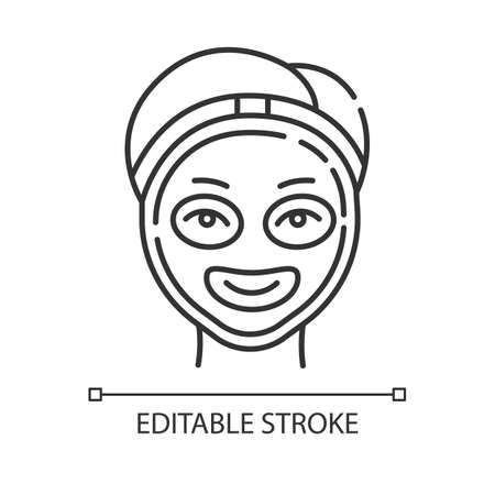 Cosmetology linear icon. Spa treatment. Medical procedure. Face mask for rejuvenation. Skincare and healthcare. Thin line illustration. Contour symbol. Vector isolated outline drawing. Editable stroke Иллюстрация