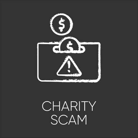 Charity scam chalk icon. Sham charity. Fake donation request. False fundraiser. Money theft. Online fraud. Cybercrime. Malicious practice. Fraudulent scheme. Isolated vector chalkboard illustration Çizim