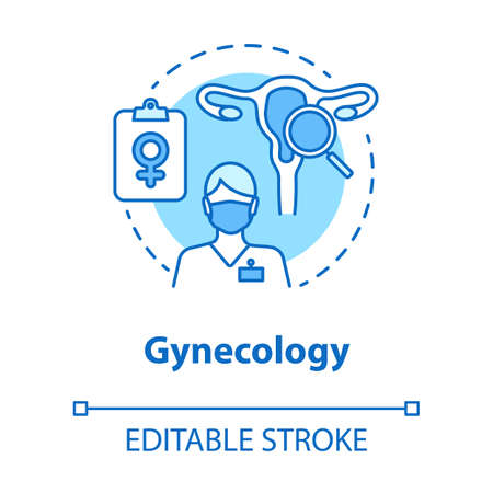 Gynecology concept icon. Women healthcare exam idea thin line illustration. Gynaecologist, doctor, screening. Female reproductive system, fertility. Vector isolated outline drawing. Editable stroke