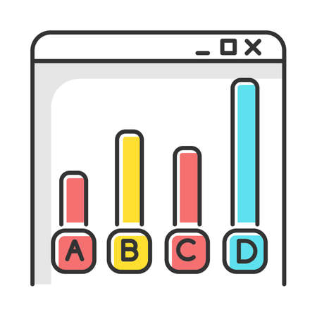 Online survey color icon. Statistics analysis. Web chart. Internet graph. Histogram bar increase. Info collection. Data research. Digital questionnaire. Diagram. Isolated vector illustration