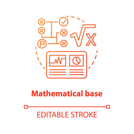 Mathematical base red concept icon. Calculations idea thin line illustration. Combination of numbers and digits. Arithmetic and numerical system. Vector isolated outline drawing. Editable stroke Stock Illustratie