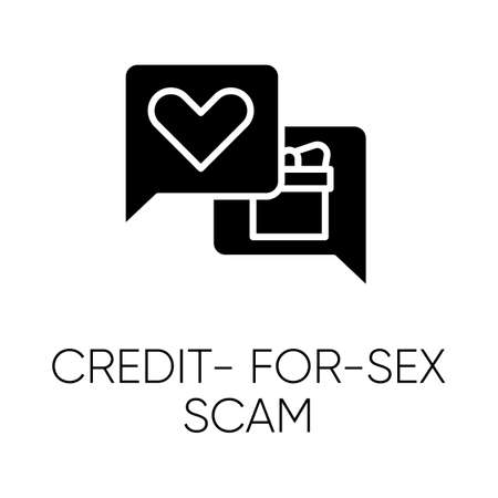 Credit-for-sex scam glyph icon. Sexual favours. Dating, hookup fraud. Internet, web love scam. Cyber extortion. Fraudulent scheme. Silhouette symbol. Negative space. Vector isolated illustration