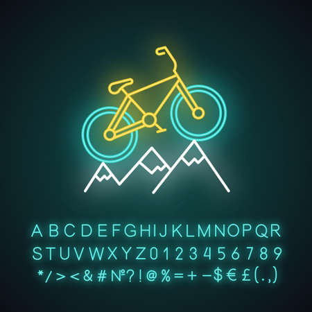 Mountain cycling neon light icon. Cross-country, downhill biking. Outdoor sporting activity. Riding over rough terrain. Glowing sign with alphabet, numbers and symbols. Vector isolated illustration