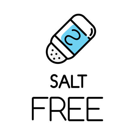 Salt free color icon. Organic food without sodium, sulfates. Product free ingredient. Nutritious dietary, healthy eating habits. Natural meals for personal healthcare. Isolated vector illustration