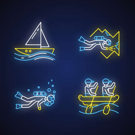 Watersports neon light icons set. Cave diving, sailing and rafting. Extreme kinds of sport. Summer vacation, adventure and hobby, beach activities. Glowing signs. Vector isolated illustrations