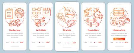 Types of keto diets red onboarding mobile app page screen template. Ketogenic meal, healthy nutrition. Low carbs food. Walkthrough website steps with linear icons. UX, UI, GUI smartphone interface