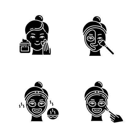 Set di icone del glifo con procedure di cura della pelle. Applicazione della crema esfoliante. Maschera termica per aprire i pori. Maschera liquida per il trattamento del viso. Routine di bellezza. Simboli di sagoma. Illustrazione vettoriale isolato