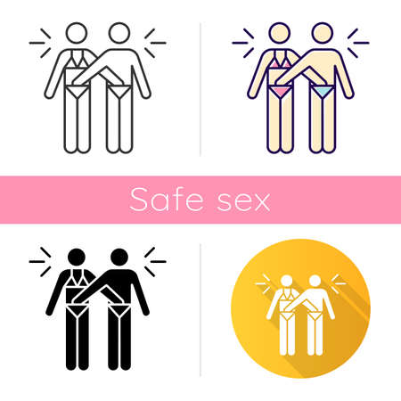 Mutual masturbation icon. Couple sexual acitvity. Man and woman. Erotic play. Intimate relationship with partner. Safe sex. Flat design, linear and color styles. Isolated vector illustrations
