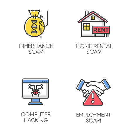 Scam types color icons set. Inheritance, home rental fraudulent scheme. Computer hacking. Employment scamming. Cybercrime. Financial scamming. Illegal money gain. Isolated vector illustrations Illustration