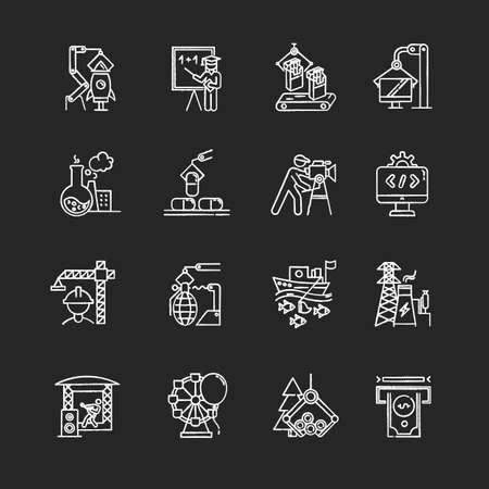 Ensemble d'icônes de craie de types d'industrie. Production de biens et services. Développement de la technologie. Activités humaines à but lucratif. Entreprises dans divers secteurs de l'économie. Illustrations de tableau de vecteur isolé