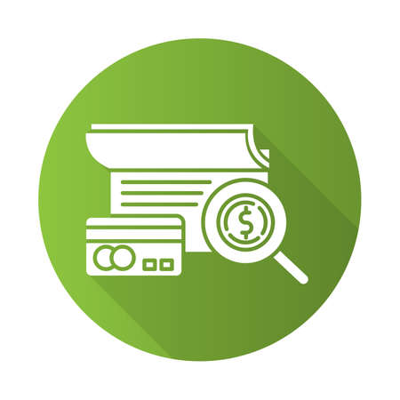 Verifying credit history green flat design long shadow glyph icon. Examining personal loan payment. Financial report. Economy business. Investment, budget graph. Vector silhouette illustration