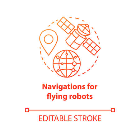 Navigations for flying robots red concept icon. Satellites idea thin line illustration. GPRS for drones, robotic devices. Directions from space. Vector isolated outline drawing. Editable stroke