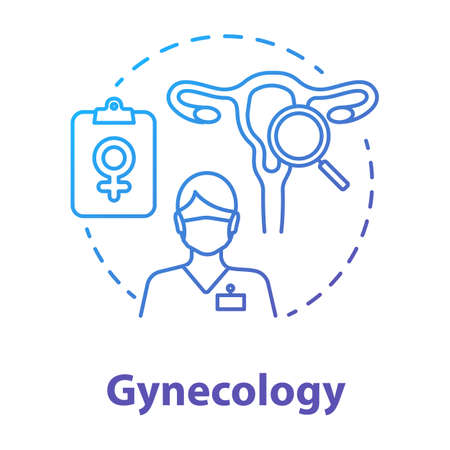 Gynecology blue gradient concept icon. Women healthcare idea thin line illustration. Gynaecologist, doctor. Female reproductive system, fertility, anatomy. Vector isolated outline drawing