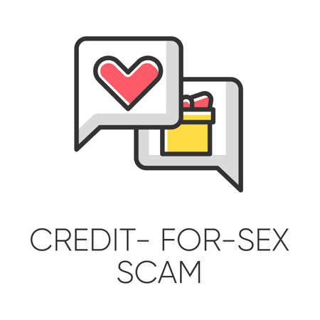 Credit-for-sex scam color icon. Sexual favours. Dating, hookup fraud. Internet, web love scam. Cyber extortion. Malicious practice. Fraudulent scheme. Isolated vector illustration
