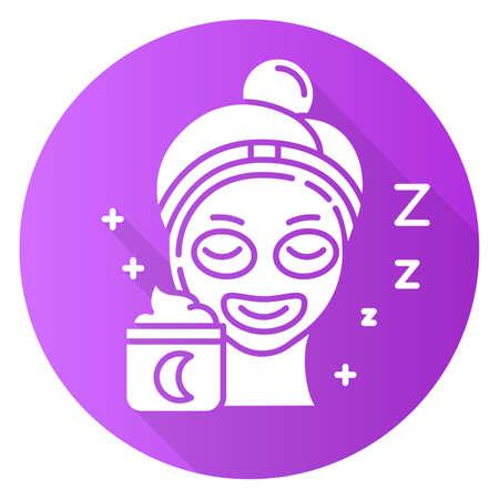 Applying sleeping cream purple flat design long shadow glyph icon. Skin care procedure. Facial treatment. Night cream for relaxation. Everyday beauty routine step. Vector silhouette illustration Illusztráció