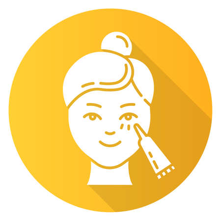 Using undereye cream yellow flat design long shadow glyph icon. Skin care procedure. Facial beauty treatment. Lifting and exfoliating effect. Eye makeup product. Vector silhouette illustration