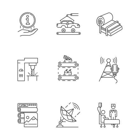 Industry types linear icons set. Information sign. Car, auto. Steel industry. Fruit supply. Broadcasting. Healthcare. Thin line contour symbols. Isolated vector outline illustrations. Editable stroke