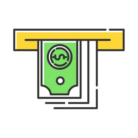 Cash advance color icon. Lending money. Pay for credit, loan. Currency withdrawal from ATM. Managing finances and personal budget account. Economy industry. Isolated vector illustration Vectores
