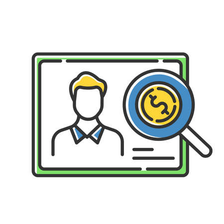 Verifying creditworthiness color icon. Examining personal credit history. Financial report. Economy business. Investment, budget graph. Bank insurance state. Isolated vector illustration Vectores