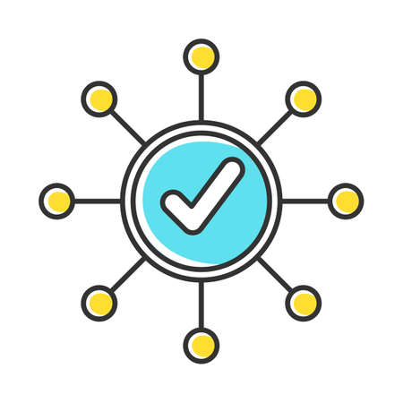 Survey mark color icon. Correct answer. Right checkmark. Approve mark, agree tick. Chart spread. Yes sign. Molecular structure system. Scheme organization. Isolated vector illustration