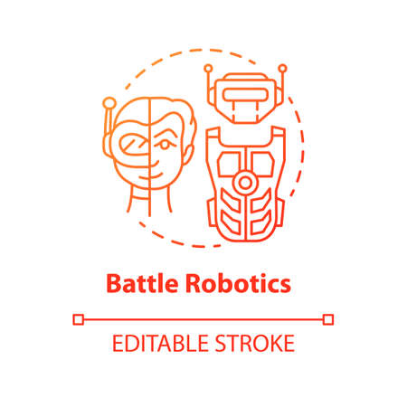 Battle robotics red concept icon. Transformers idea thin line illustration. Types of robots, classification. Computer machine combat, fighting. Vector isolated outline drawing. Editable stroke