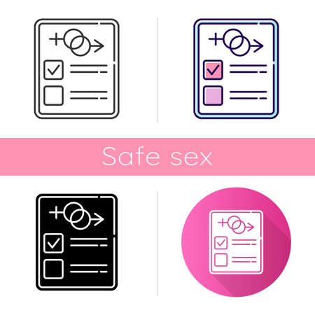 Sex test icon. Examination page. Male, female report. Gender determination and verification. Sexual preferance check. Safe sex. Flat design, linear and color styles. Isolated vector illustrations