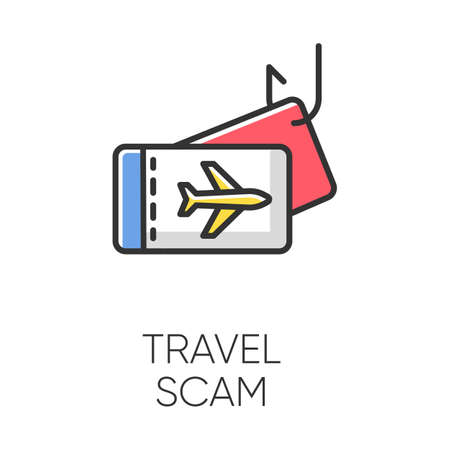 Travel scam color icon. Fake vacation ad. Unrealistic conditions. Free tickets trick. Cybercrime. Financial fraud. Malicious practice. Fraudulent scheme. Isolated vector illustration Illustration