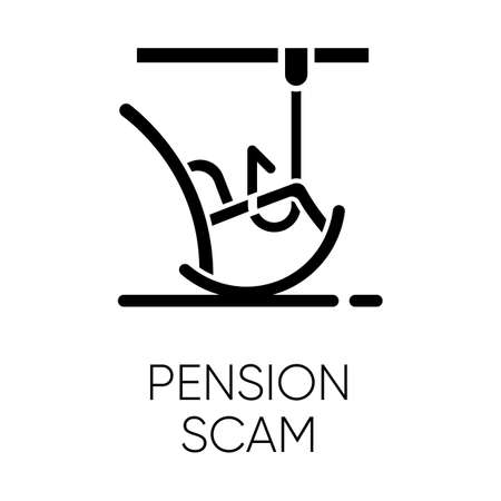 Pension scam glyph icon. Retirement savings theft. Fake annuity investment offer. Crime against elderly. Phishing. Financial fraud. Silhouette symbol. Negative space. Vector isolated illustration Illustration