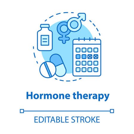 Hormone therapy concept icon. Medical treatment idea thin line illustration. Medicine, pills, birth control. Menopause, cancer, transgender medication. Vector isolated outline drawing. Editable stroke